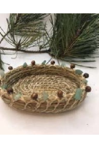 Pine Needle Basket with Brown Bead & Green Stones
