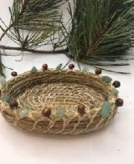 Pine Needle Basket with Brown Bead & Green Stones-1