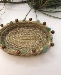 Pine Needle Basket with Brown Bead & Green Stones-2