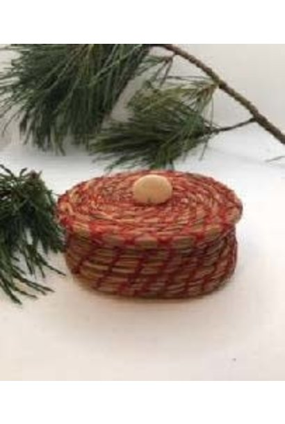Pine Needle Basket with Red Thread & Lid