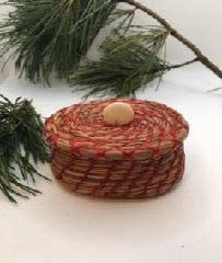 Pine Needle Basket with Red Thread & Lid-1