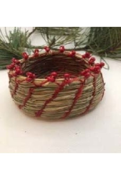 Pine Needle Basket with Red Beads