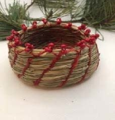Pine Needle Basket with Red Beads-1