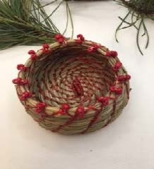 Pine Needle Basket with Red Beads-2