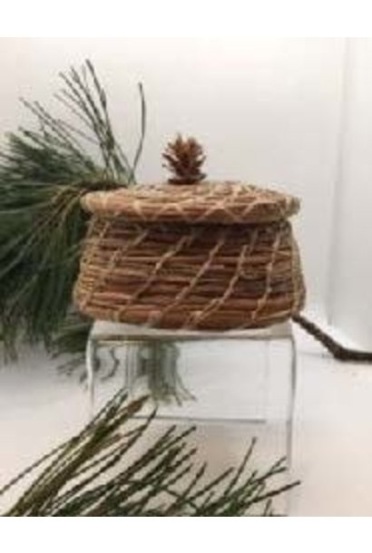 Pine Needle Basket with Lid, small pine cone top