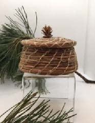 Pine Needle Basket with Lid, small pine cone top-1