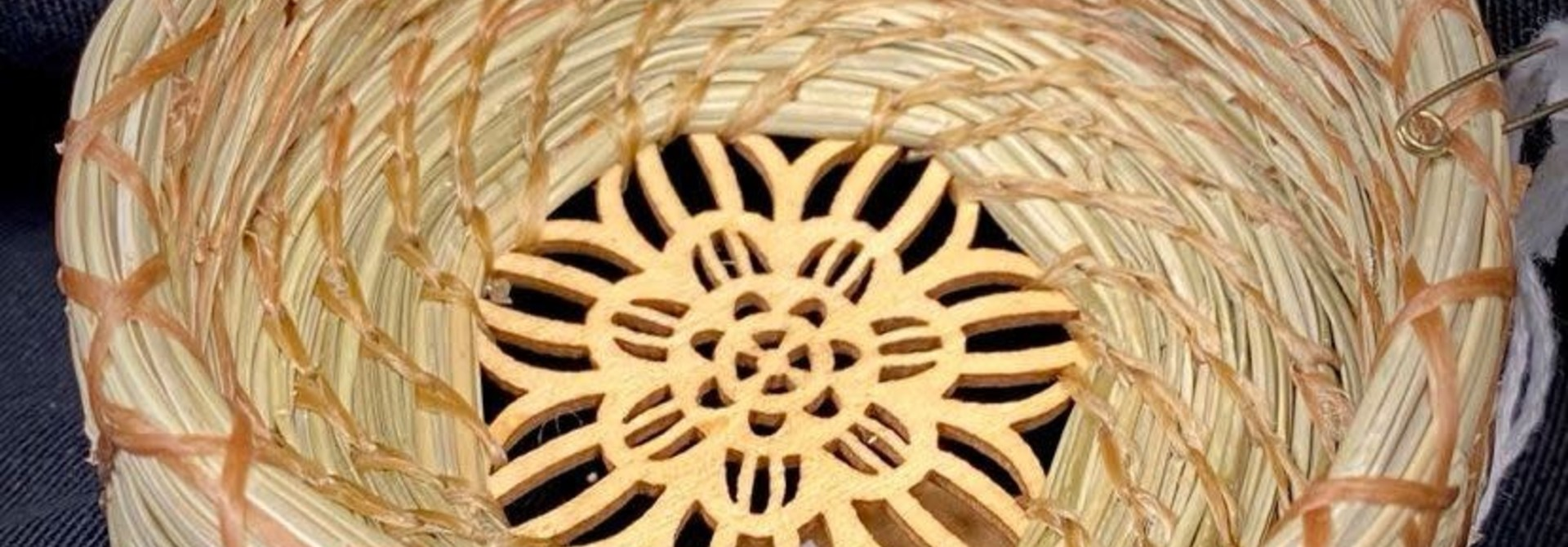 Pine Needle Basket with Wooden Bottom