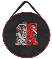 """17"""" Embroidered Drum Bag - Bear & Wolf by Francis Horne St.-1"""