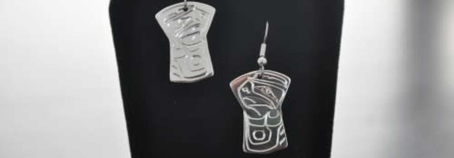Carved Silver Earrings - Eagle design by Vincent Henson