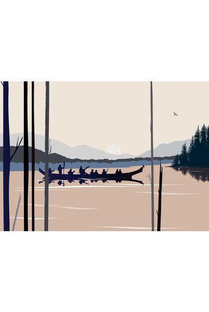 Framed & Matted Art Card -Curtis Canoe  by Mark Preston