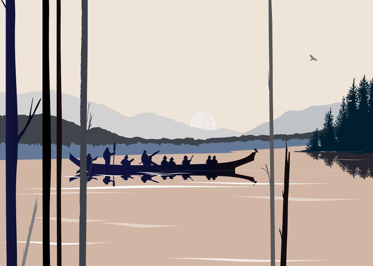 Framed & Matted Art Card -Curtis Canoe  by Mark Preston-1