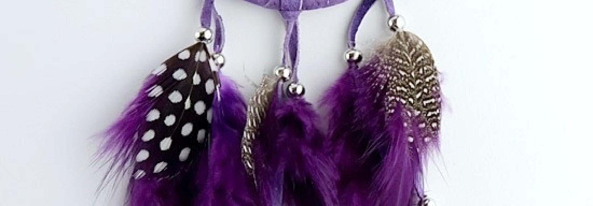 """2.5"""" Purple Dream Catcher with stones & Beads"""