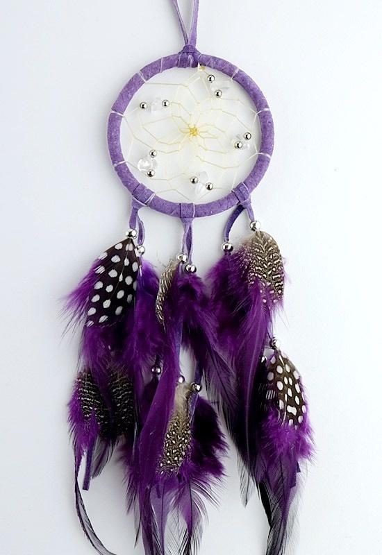 """2.5"""" Purple Dream Catcher with stones & Beads-1"""