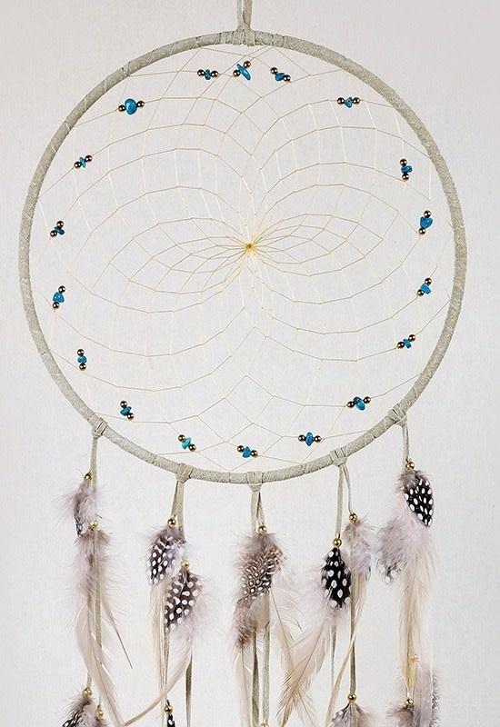 """9"""" Tan Dream Catchers w semi precious stones-2"""