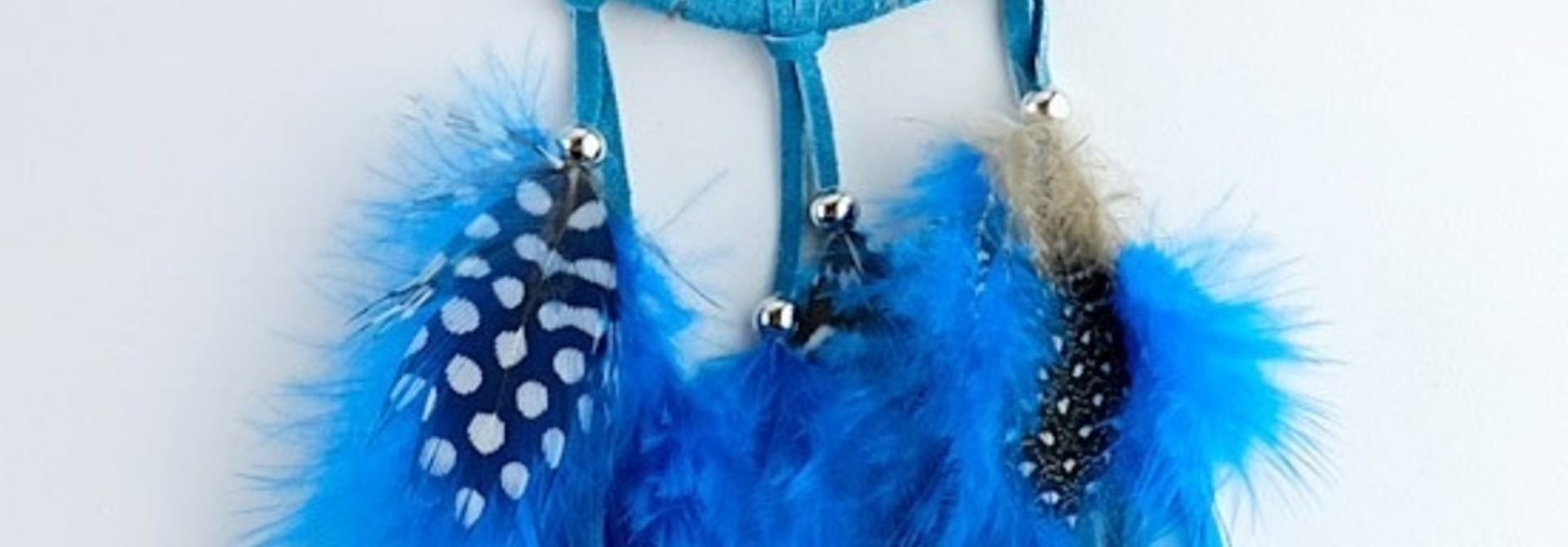 """2.5"""" Turquoise Dream Catcher w Stones & Beads"""