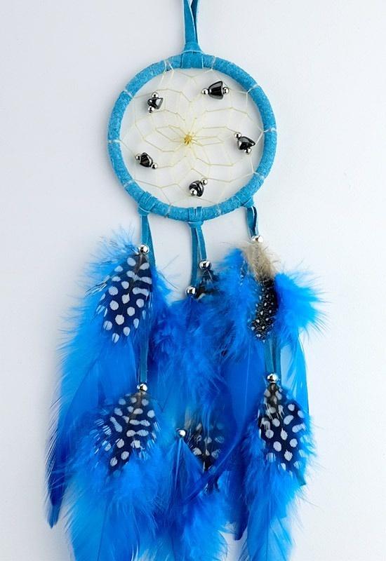 """2.5"""" Turquoise Dream Catcher w Stones & Beads-1"""
