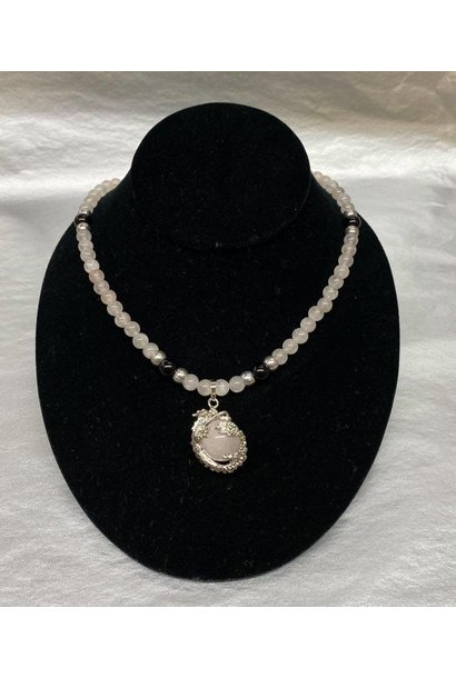 "Beaded Rose Quartz Necklace 22"""