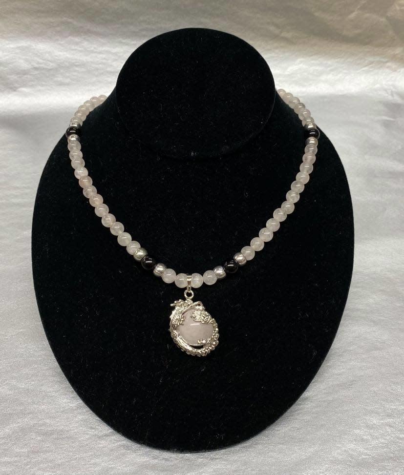"Beaded Rose Quartz Necklace 22""-1"