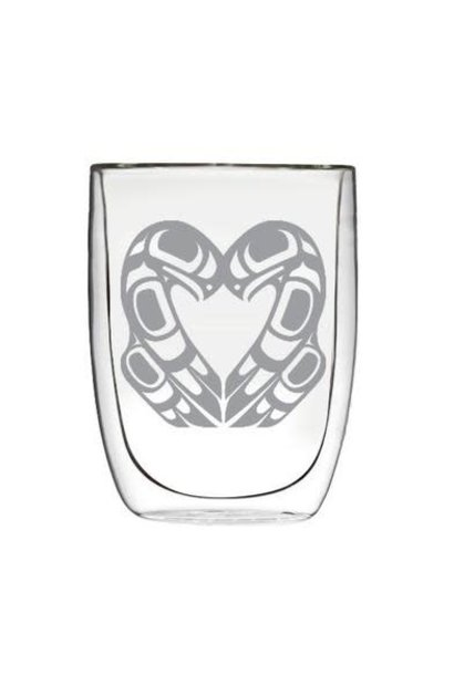 Double Wall Etched Glass - Eagle Heart