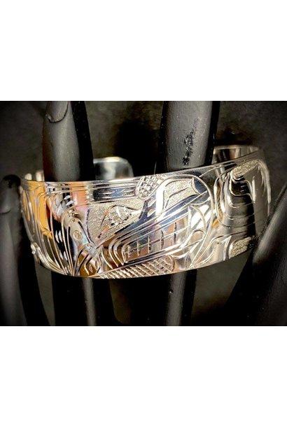 "Hand Carved 3/4"" Silver Bracelet Wolf by Nancy Dawson"