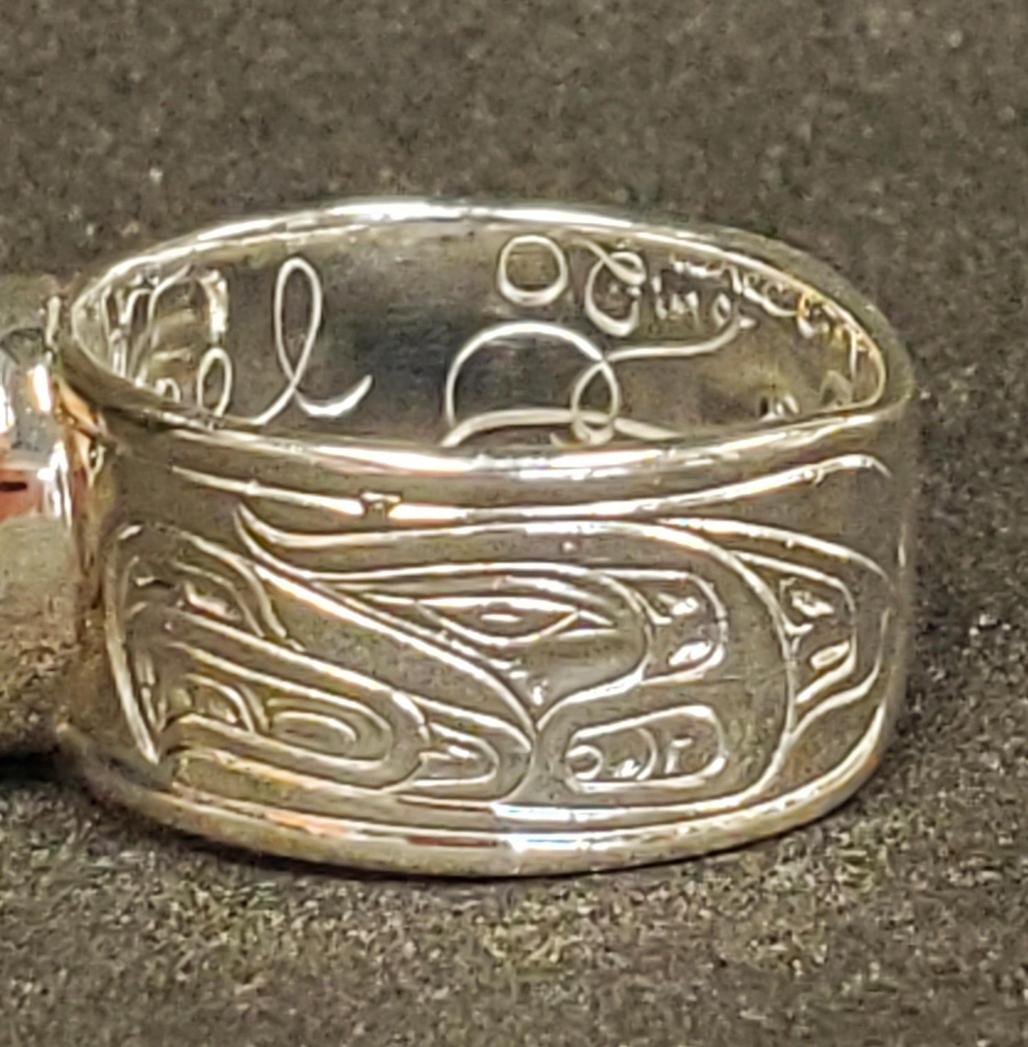 Medicine Wheel Gathering Ring - Silver w Onyx inlay-3