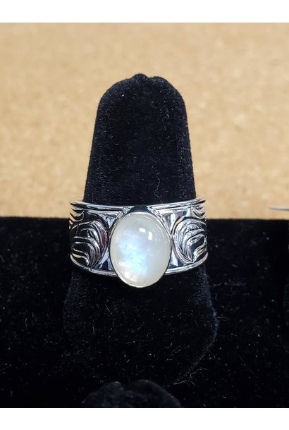 Passing a Prayer Silver Cast ring  w Moonstone