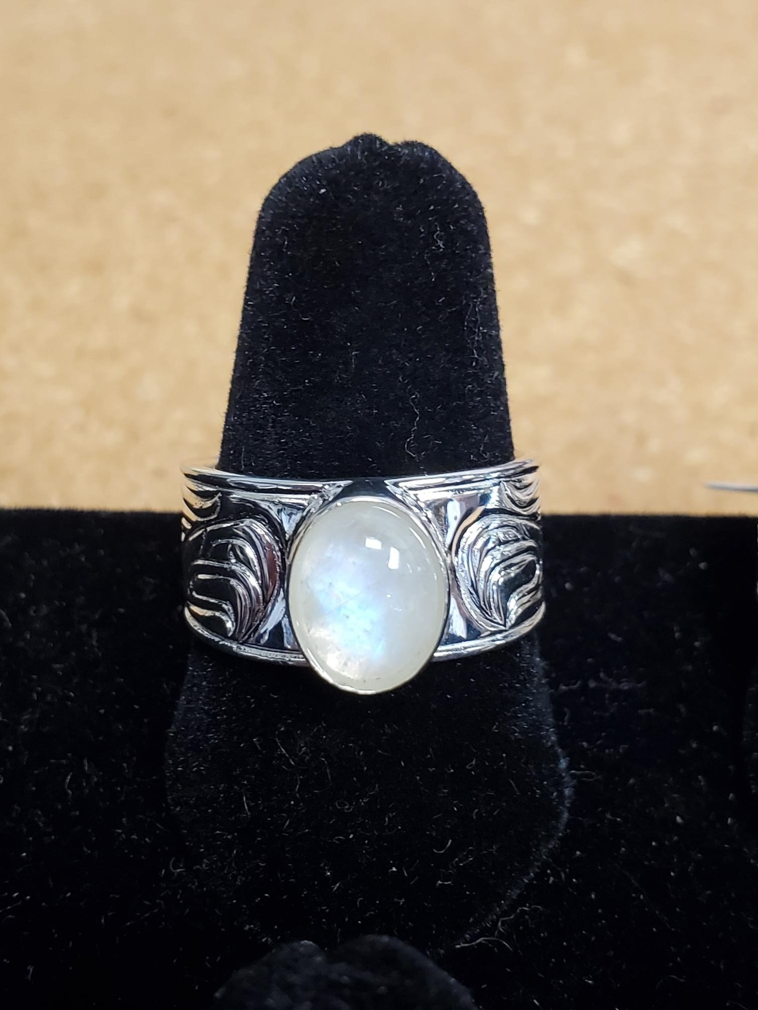 Passing a Prayer Silver Cast ring  w Moonstone-1