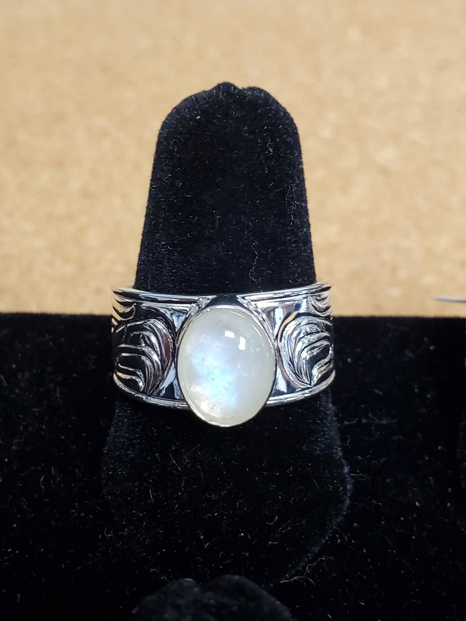 Passing a Prayer Silver Cast ring  w Moonstone-2
