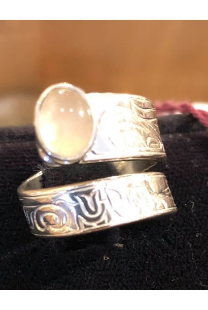 Honor our Mother Wrap Ring w Moonstone size 7