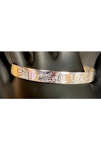 """Silver Carved Bracelet 1/4"""" Wolf Bracelet"""