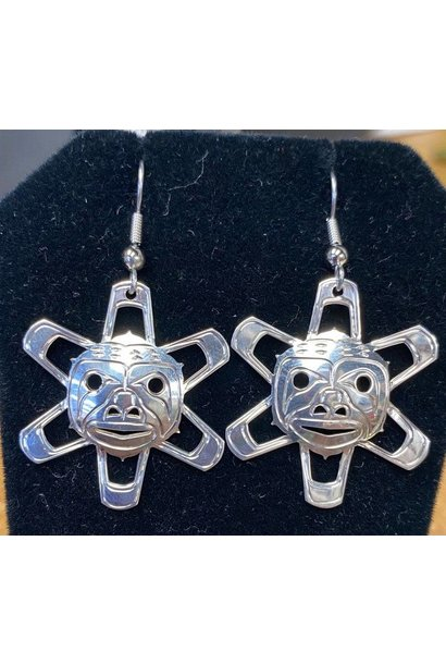 Silver Carved Sun Earrings By Silver Eagles