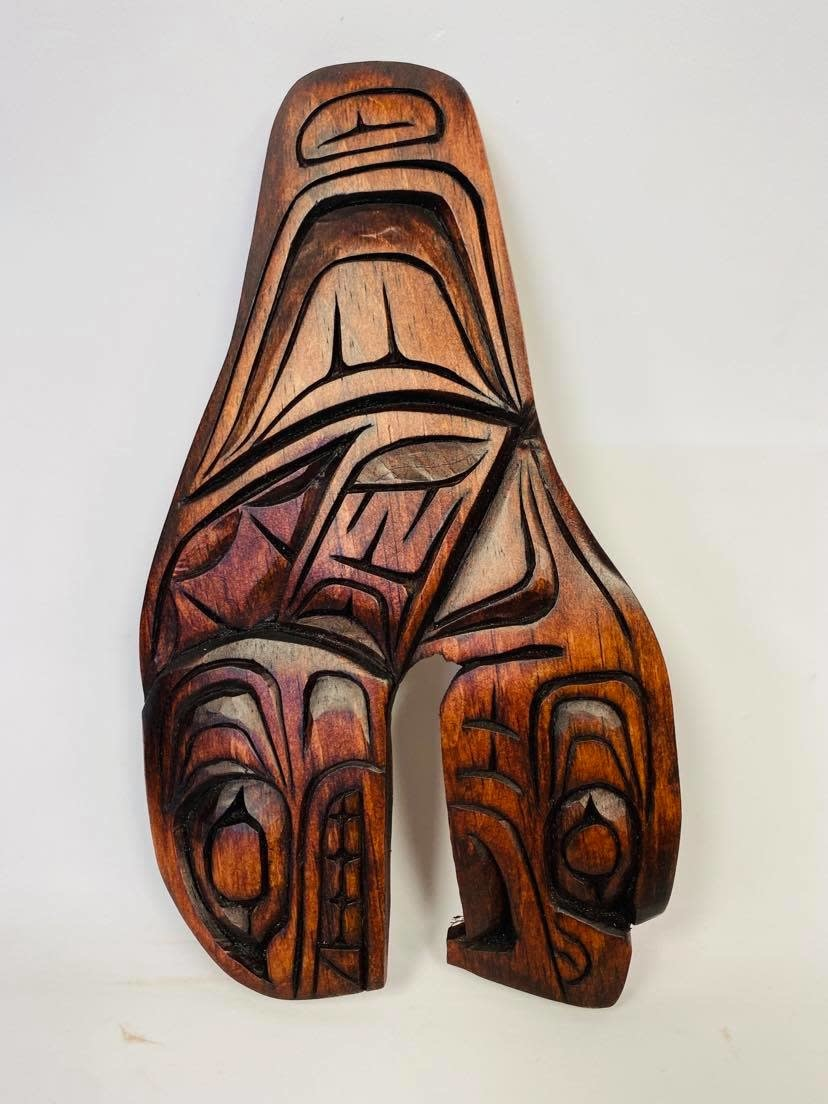 Hand Carved Killer whale Eagle Tail- Nelson McCarty-1