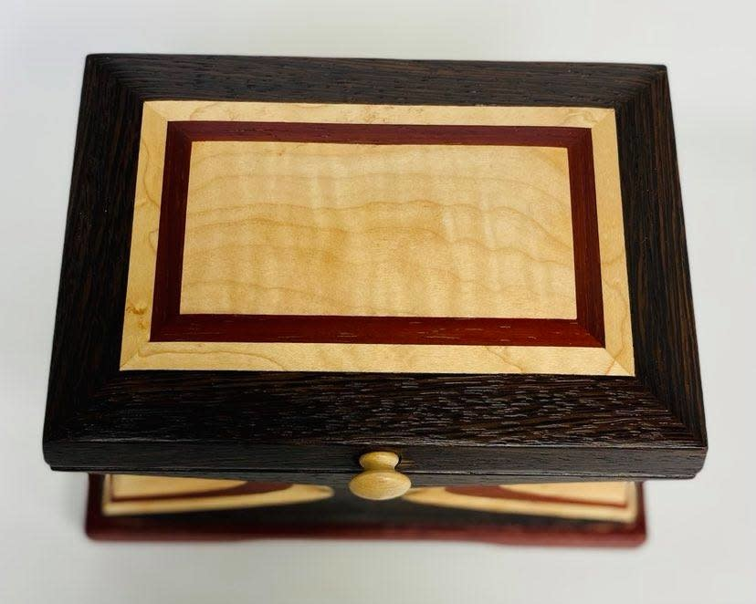"""Hand Crafted Jewelry box made of rare """"Wenge Marble """" Wood-3"""