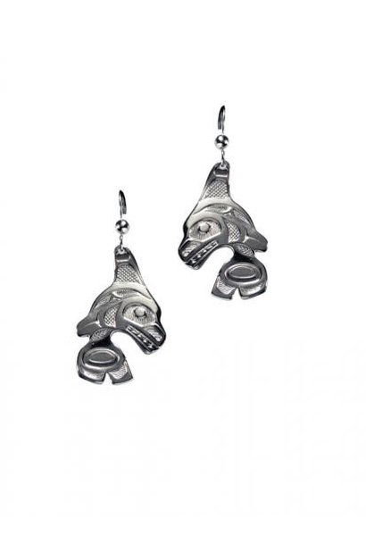Silver Pewter Orca Earrings by Bill Helin