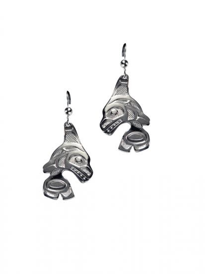 Silver Pewter Orca Earrings by Bill Helin-1