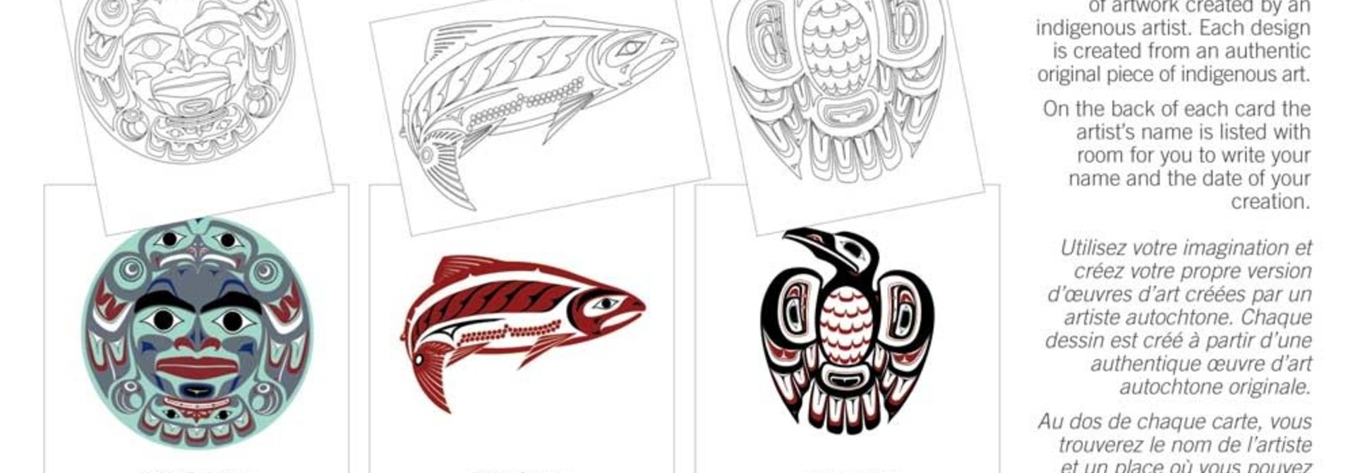 Colouring Note Cards- Haida Expressions by Clarence Mills