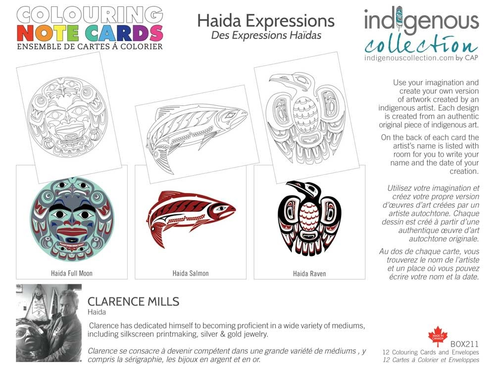 Colouring Note Cards- Haida Expressions by Clarence Mills-1