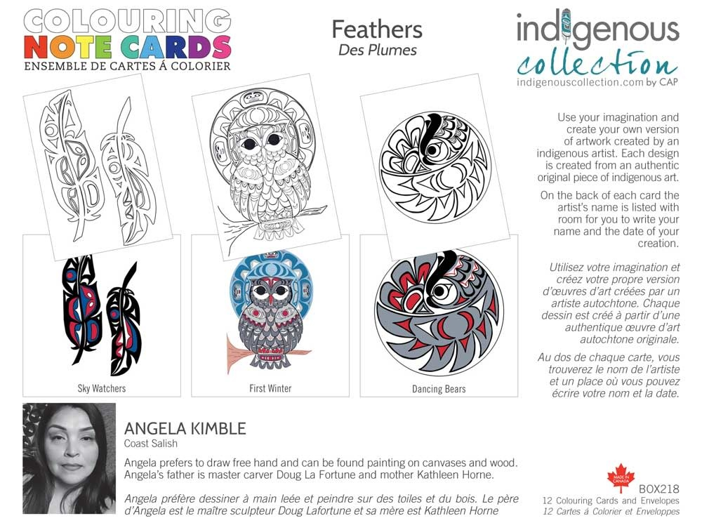Colouring Note Cards - Feathers by Angela Kimble-1