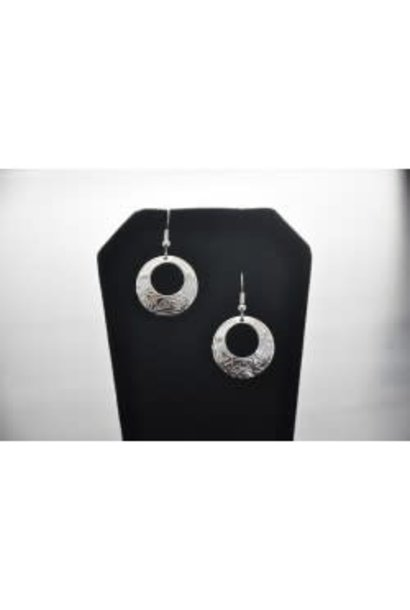 Silver circle shaped earrings eagle design  by Vincent Henson
