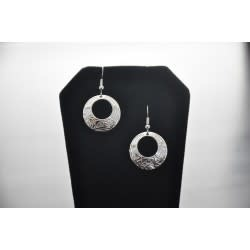 Silver circle shaped earrings eagle design  by Vincent Henson-2