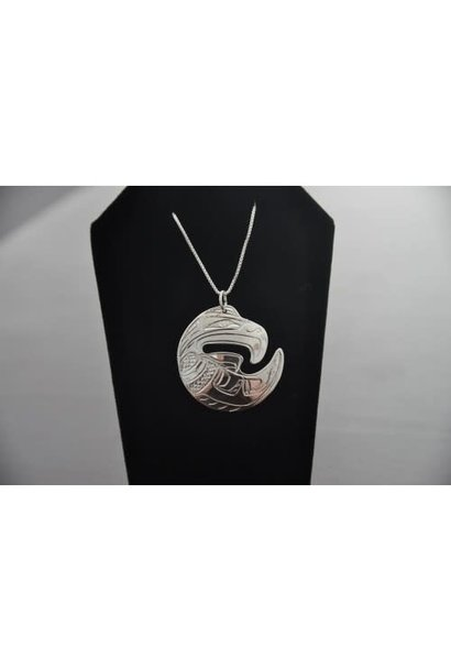 Carved Silver Pendant -Eagle by Chance Gesinghaus