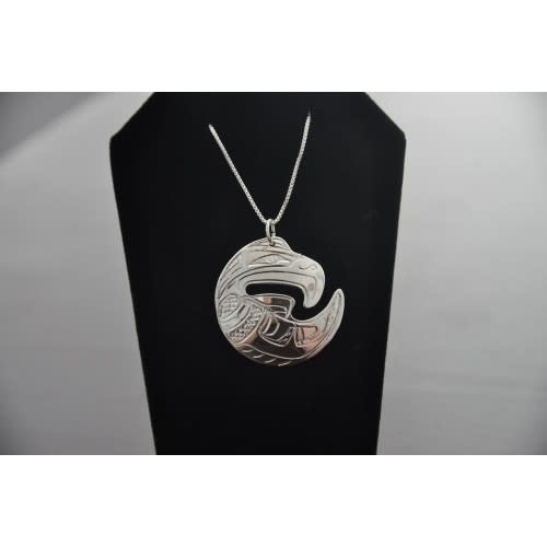 Carved Silver Pendant -Eagle by Chance Gesinghaus-1