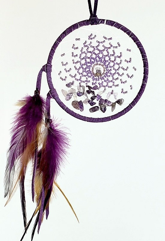 """4"""" Energy Flow Dream Catcher with Amethyst-2"""