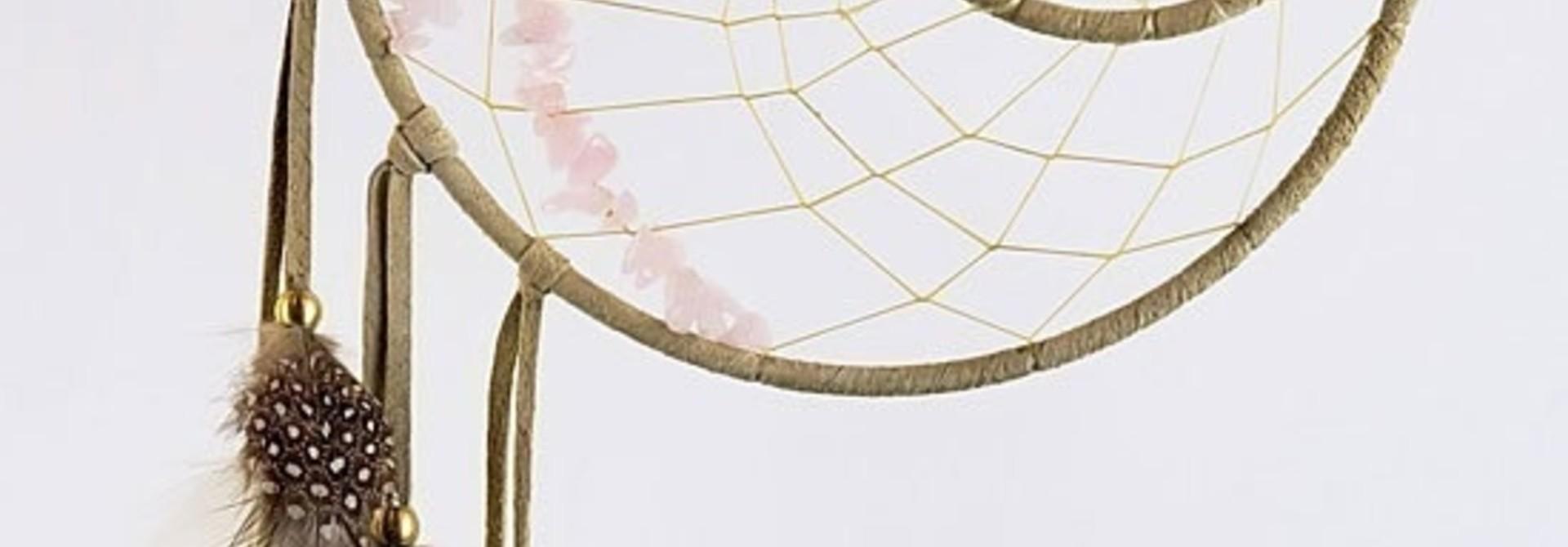 "6"" Energy Flow Dream Catcher detailed with Rose Quartz"