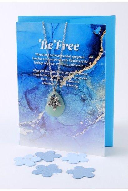 Mini Greeting Card with Freeform Seafoam Green Sea Glass necklace
