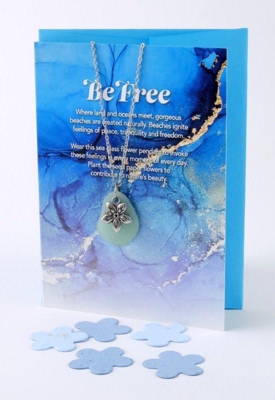 Mini Greeting Card with Freeform Seafoam Green Sea Glass necklace-1
