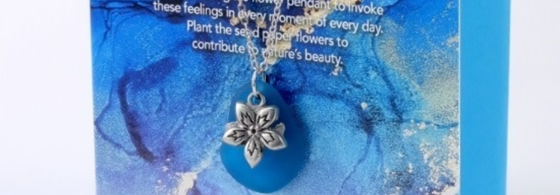 Mini Greeting Card with Freeform Teal Sea Glass necklace