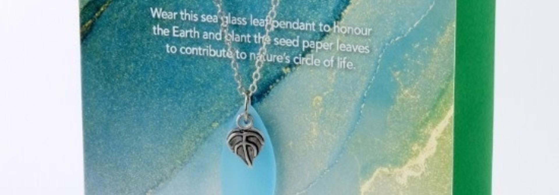 Mini Greeting Card with Leaf Aqua Sea Glass necklace
