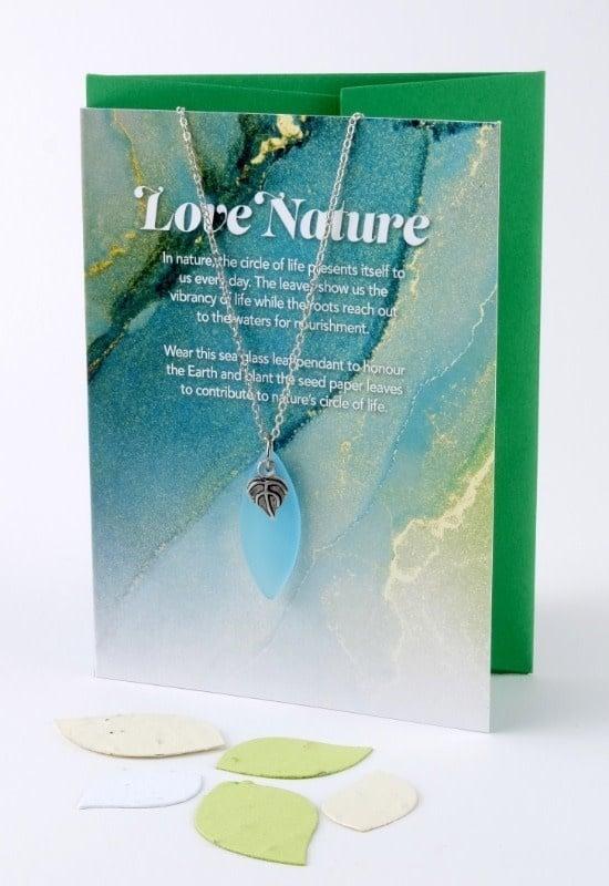 Mini Greeting Card with Leaf Aqua Sea Glass necklace-1