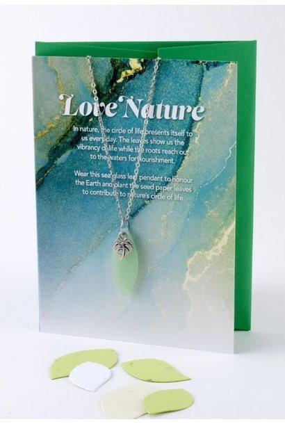 Mini Greeting Card with Leaf Seafoam Green Sea Glass necklace